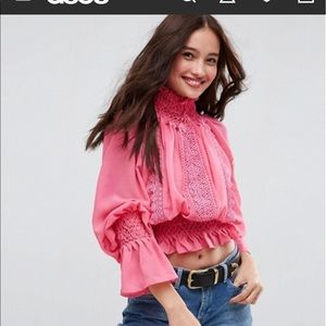ASOS Hand smocked blouse with lace detail